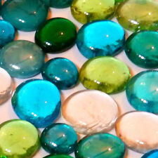 100 x Glass  Pebbles / Nuggets / Stones / Gems - Bluey Green Mix