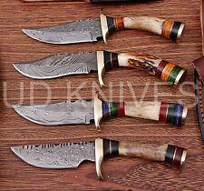 LOT OF 4  6 INCH CUSTOM DAMASCUS STEEL HUNTING KNIFE  STAG ANTLER B8-11724