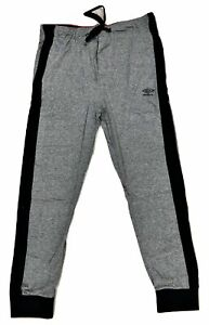 BRAND NEW! - Umbro Men's Knitted Jersey Tapered Pants - Gray Obsidian / Vertical