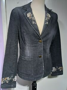 Phase Eight Denim Style Embroidered Jacket Size 12 UK Dark Faded Grey