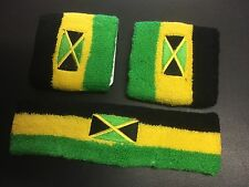 JAMAICA BLACK YELLOW GREEN HEADBAND & WRISTBANDS WITH FLAG ROOTS REGGAE RASTA