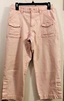 Women's JAG Pink Cargo Cropped Pants Capris, Stretch Button Close Calf 10