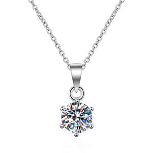 UK Classic Solitaire Zircon Pendant Necklace Women Jewelry Blingbling Silver