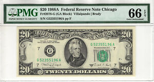 1988 A $20 FEDERAL RESERVE NOTE CHICAGO FR.2076-G PMG GEM UNC 66 EPQ (196A)