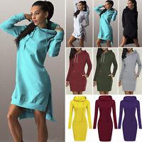Womens Hooded Jumper Short Mini Dress Sweatshirt Sweater Hoodie Dresses Sundress