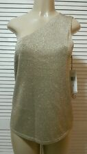 Ralph Lauren Gold Metallic One Shoulder Sweater, Sleeveless Size XLarge $129.99