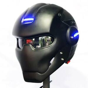 HELMET BLACK IRON MAN MOTORCYCLE ABS CUSTOM MASK PARTY BLUE LED LIGHT