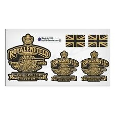 Set Royal Enfield Made Like A Gun & UK Flags Black Gold Decals Laminated Sticker