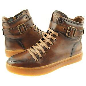 "Jump ""Sullivan""  Genuine Leather High-Top Men's Sneaker, Tan 8-15US"
