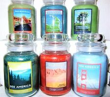 """FULL SET OF 6 Yankee Candle 22 oz""""SEE AMERICA"""" Everglades~Smoky~Canyon~Cape Cod"""