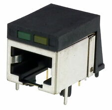 RJ45 Modular Network Socket 8P8C metal clad with LEDs PCB mount