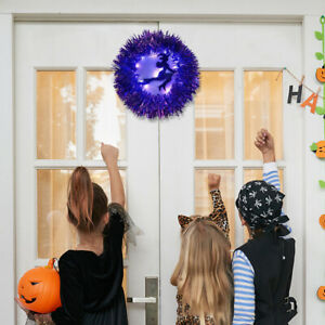 Halloween Wreath Witch On Broom With LED Light Home Party Door Hanging Decor
