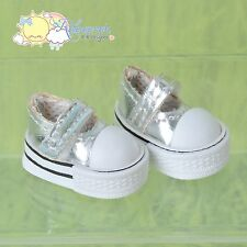 Doll Shoes Mary Jane Sneakers Silver for Lati Yellow Pukifee BJD Blythe Momoko