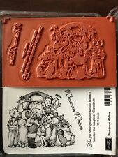 """WONDROUS WISHES"" Stampin'UP! NEW~WOOD unmounted-NLA-RARE~Santa w/children/Set-3"