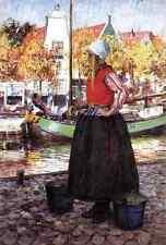 Hitchcock George Woman Along Canal Aka A Young Dutch Girl A4 Print