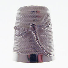 SILVER DRAGON FLY THIMBLE.  HALLMARKED STERLING SILVER DRAGON FLY THIMBLE