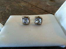 JUDITH RIPKA JRTWO  18K STERLING SILVER BLUE QUARTZ DIAMOND PIERCED EARRINGS