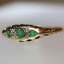 Vintage Emerald & Diamond 9ct Yellow Gold Gypsy Boat Ring size N ~ 6 3/4