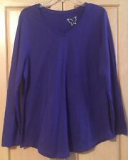 Just My Size V Neck Asymmetrical Top Size 1X Purple