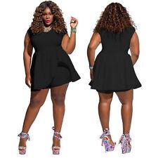 UK Plus Size Womens Sleeveless High Waist Jumpsuit Shorts Mini Playsuit Dresses