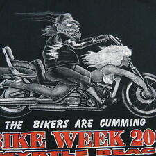 The Bikers are cumming MYRTLE BEACH MOTORCYCLE BIKER PIN UP GIRL T SHIRT Mens L