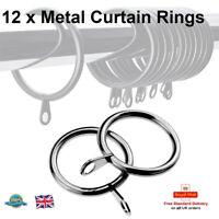 12 x 35mm Diameter Large Chrome Metal Heavy Duty Curtain Rings Pelmet Ring Hooks