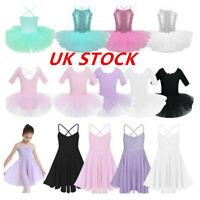 UK Girl Kids Ballerina Costume Ballet Latin Dance Dress Dancewear Leotard Skirts
