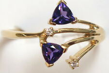 14K Solid Yellow Gold Amethyst and Diamond Ring - Size 6