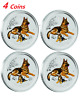 4x 2018 Australia colorized Lunar Year of the Dog 1/4 oz Silver Bullion Coins