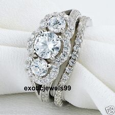 2.90Ct Three Stone Round White Moissanite 925 Silver Engagement Wedding Ring Set