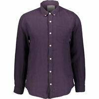 "RACING GREEN Men's Pure Linen Long Sleeve Shirt, Purple, size Small / 38""chest"