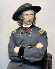 "GENERAL GEORGE ARMSTRONG CUSTER CIVIL WAR 8x10"" HAND COLOR TINTED PHOTOGRAPH"