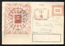 HUNGARY 1934, Budapest Jubilee card w/special meter cancel and 20f s/s