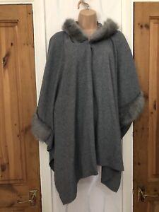 Cape Women's Ladies Cape Fur Hooded One Size Uk 16 18 20 22 24 26 28