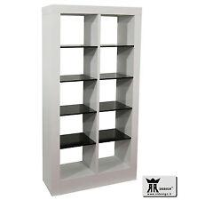 Libreria moderna soggiorno laccato lucido bianco e mensole nere Primo RR DESIGN
