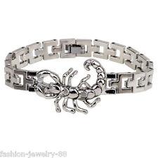 Punk Mens Silver Stainless Steel Scorpion Bracelet Wristband Bangle Cuff Jewelry