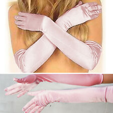 Light Pink Long Satin Soft Gloves Elbow Bridal Prom Opera Wedding Formal Party