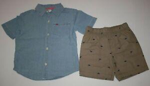 New Carter's Boys 2 Piece Set 3T 5T Blue Top & Khaki Dinosaur Print Shorts