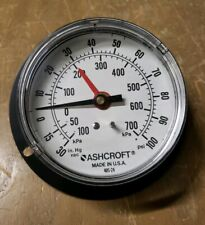 "Ashcroft 3-1/2"" Air Pressure Gauge 0-100PSI -30-0 in Hg Vac, 1/4"" 19JS-0488-Y19"