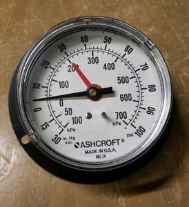 """Ashcroft 3-1/2"""" Air Pressure Gauge 0-100PSI -30-0 in Hg Vac, 1/4"""" 19JS-0488-Y19"""