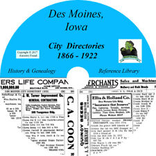 DES MOINES Iowa CITY DIRECTORY - History & Genealogy - 28 Books on CD DVD