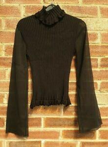 Eurofiel Confeccion Women's Black Silk Blend Stretch Top Blouse Jumper Size S
