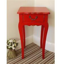 65cm Red Vintage Style Bedside Table Cabinet One Drawer Large Hallway