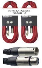 2x 10 m Mikrofonkabel XLR-XLR 3-pol rot DMX-Kabel Mikrofon-Kabel Audiokabel