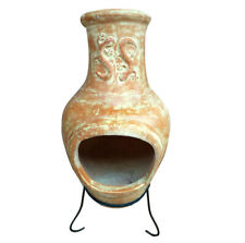 Charles Bentley Chiminea Made of Clay with Steel Stand & Terracotta Finish