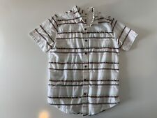 On The Byas Short Sleeve Aztec Tribal White Button Front Shirt Size Medium