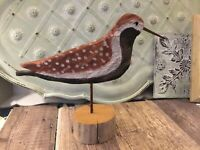 Hand Carved Wooden Bird Golden Plover Signed artist Seabird Wood Hand painted