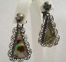 STERLING Silver FILIGREE Mother of PEARL Dangle Earrings Screw Bk Mexico Vintage
