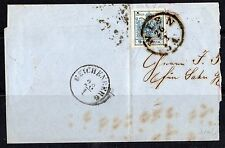 AUSTRIA 1850 NINE KREUZER LARGE 4 MARGIN TIED VIENNA TO BEICHENBURG PART FOLDED