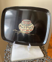 VINTAGE COUROC Monterey California Southwest Pottery Pot Black Tray USA